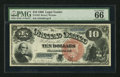 Large Size:Legal Tender Notes, Fr. 103 $10 1880 Legal Tender PMG Gem Uncirculated 66 EPQ.. ...