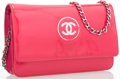 "Luxury Accessories:Accessories, Chanel Pink Patent Leather Wallet on Chain Bag with Silver Hardware. Good Condition. 7.5"" Width x 5"" Height x 1"" Dept..."