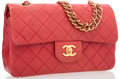 "Luxury Accessories:Accessories, Chanel Red Quilted Lambskin Leather Small Double Flap Bag with GoldHardware . Good Condition.  9"" Width x 6"" Height x..."