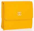"Luxury Accessories:Accessories, Chanel Yellow Leather Double Wallet. Very Good to ExcellentCondition. 4"" Width x 3.75"" Height x 1"" Depth. ..."
