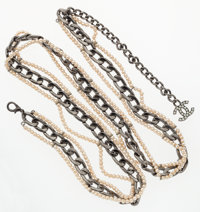 """Chanel Gunmetal & Glass Pearl Belt Excellent Condition 38"""" Length"""