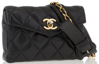 "Chanel Black Quilted Lambskin Leather Belt Bag with Gold Hardware Good Condition 6.5"" Width x 4.5"