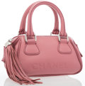 """Luxury Accessories:Accessories, Chanel Pink Leather Small Tote Bag withTassel. Excellent Condition. 8"""" Width x 5"""" Height x 4.5"""" Depth. ..."""