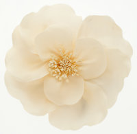 """Chanel White Camellia Pin Excellent Condition 4"""" Width x 3.5"""" Height"""