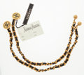 "Luxury Accessories:Accessories, Chanel Set of Two; Gold & Black Sweater Chains. Very Good toExcellent Condition. 12"" Length. ..."