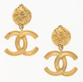 "Luxury Accessories:Accessories, Chanel Gold CC Drop Earrings. Good Condition. 1.5"" Widthx 1"" Height. ..."