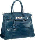 "Luxury Accessories:Bags, Hermes 30cm Shiny Blue Roi Porosus Crocodile Birkin Bag withPalladium Hardware. Very Good Condition . 12"" Width x 8""..."