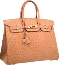"""Hermes 35cm Natural Ostrich Birkin Bag with Gold Hardware Good to Very Good Condition 14"""" Width"""