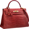 "Luxury Accessories:Bags, Hermes 32cm Matte Rouge H Alligator Retourne Kelly Bag with GoldHardware. Good Condition. 12.5"" Width x 9"" Height x4..."