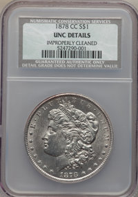 1878-CC $1 -- Improperly Cleaned -- NCS. Unc Details. NGC Census: (152/15326). PCGS Population (220/22219). Mintage: 2,2...