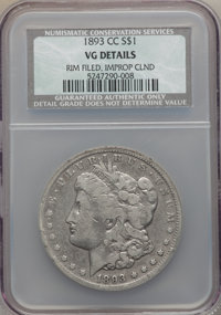 1893-CC $1 -- Improperly Cleaned, Rim Filed -- NCS. VG Details. NGC Census: (149/3338). PCGS Population (218/6107). Mint...