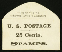 Bennett & Reay 5 & 7 Spring St. NY 25 Cents. PE119. Extremely Fine