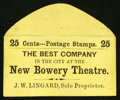 Large Size:Demand Notes, New Bowery Theatre J.W. Lingard (New York) 25 Cents. PE533. New.....