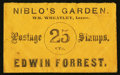 Large Size:Demand Notes, Niblo's Garden Edwin Forrest (New York) 25 CTS. PE537. ExtremelyFine.. ...