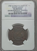 1787 1C Fugio Cent, STATES UNITED, 4 Cinquefoils, Pointed Rays -- Environmental Damage -- NGC Details. VG. NGC Census: (...