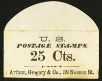 Arthur Gregory & Co. 39 Nassau Street (New York) 25 Cts. PE116. Extremely Fine