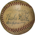 Baseball Collectibles:Balls, 1937 New York Yankees & Giants Signed Baseball with Ruth, Gehrig, Ott....