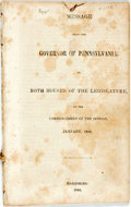 Books:Americana & American History, Porter, David R.: MESSAGE FROM THE GOVERNOR OF PENNSYLVANIA TO BOTHHOUSES OF THE LEGISLATURE, AT THE COMMENCEMENT OF THE SE...