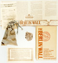 Books:Furniture & Accessories, [Berlin Wall]. Small Section of the Wall with Certificate ofAuthenticity. Portion of the Berlin Wall measuring about an inc...