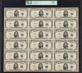 Small Size:Silver Certificates, Fr. 1655 $5 1953 Silver Certificates. Uncut Sheet of 18. PCGS Apparent Choice About New 55.. ...