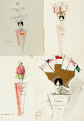 Books:Original Art, [Original Art]. Group of Four Paintings of Women in Extravagant Headpieces. One is signed Marie McCrimmon and dated 1968, th...