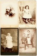 Photography:Cabinet Photos, [Photography]. Group of Four Cabinet Cards, Three with Children.Ca. 1880s. Measure 6.5 inches x 4.25 inches. Very good cond...