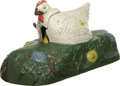 Antiques:Toys, Hen and Chick Mechanical Bank - White...