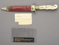 A BEAUTIFUL RODGERS BOWIE KNIFE WITH AN IVORY HANDLE IN THE FORM OF AN ALLIGATOR ca. 1840 - USED BY UNCLE BILLY IN THE G...