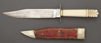 "FINEST-ETCHED ""AMERICAN CHOICE"" BOWIE KNIFE IN EXISTENCE ca. 1840-50. This beautiful Bowie knife measures 12&q..."