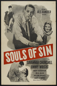 "Souls of Sin (Alexander Productions, 1949). One Sheet (27"" X 41""). Black Films"