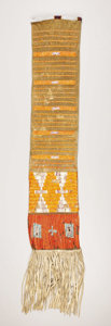 American Indian Art:Beadwork, A MANDAN/HIDATSA QUILLED HIDE TOBACCO BAG. . c. 1890. ...
