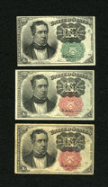 Fractional Currency:Fifth Issue, All Three Meredith Types.. ... (Total: 3 notes)