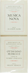 Books:Music & Sheet Music, Helen Hewitt, editor. INSCRIBED. H. Colin Slim, editor. Monuments of Renaissance Music. Volume I: Musica Nov... (Total: 2 Items)