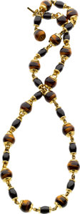 Estate Jewelry:Necklaces, Tiger's-Eye Quartz, Black Onyx, Gold Necklace. ...