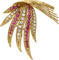 Estate Jewelry:Brooches - Pins, Ruby, Diamond, Gold Brooch, Sterlé, French. ...