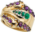 Estate Jewelry:Bracelets, Diamond, Emerald, Amethyst, Gold Bracelet. ...