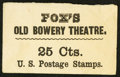Large Size:Demand Notes, FOX'S OLD BOWERY THEATRE (New York) 25 Cts. PE297. Extremely Fine.....