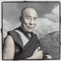 Photographs:Gelatin Silver, PHIL BORGES (American, b. 1942). Tenzin Gyatso 59, Dharamsala, India, 1994. Gelatin silver, masked, bleached, and toned,...