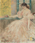 Fine Art - Painting, European:Modern  (1900 1949)  , LOUIS ICART (French, 1888-1950). Femme Pensive. Oil oncanvas. 28-1/2 x 23-1/2 inches (72.4 x 59.7 cm). Signed lowerlef...