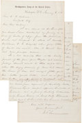 Autographs:Military Figures, General William T. Sherman Autograph Letter Signed...
