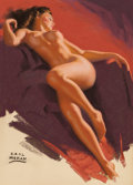 Pin-up and Glamour Art, EARL MORAN (American, 1893-1984). Reclining Brunette. Pastelon paper. 25.5 x 18.25 in. (image). Signed lower left. ...