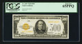 Small Size:Gold Certificates, Fr. 2407 $500 1928 Gold Certificate. PCGS Gem New 65PPQ.. ...