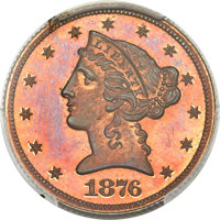 1876 $5 Five Dollar, Judd-1484, Pollock-1637, R.8, PR65 Red and Brown PCGS. CAC....(PCGS# 71806)