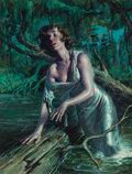 Pulp, Pulp-like, Digests, and Paperback Art, RAFAEL DESOTO (American, 1904-1992). Swamp Woman. Oil onboard. 13.25 x 10.5 in. (sight). Signed lower left. ...