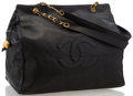 "Luxury Accessories:Accessories, Chanel Black Caviar Leather CC Tote Bag. Very Good Condition. 19"" Width x 13.5"" Height x 5.5 Depth, 15"" Handle Drop..."