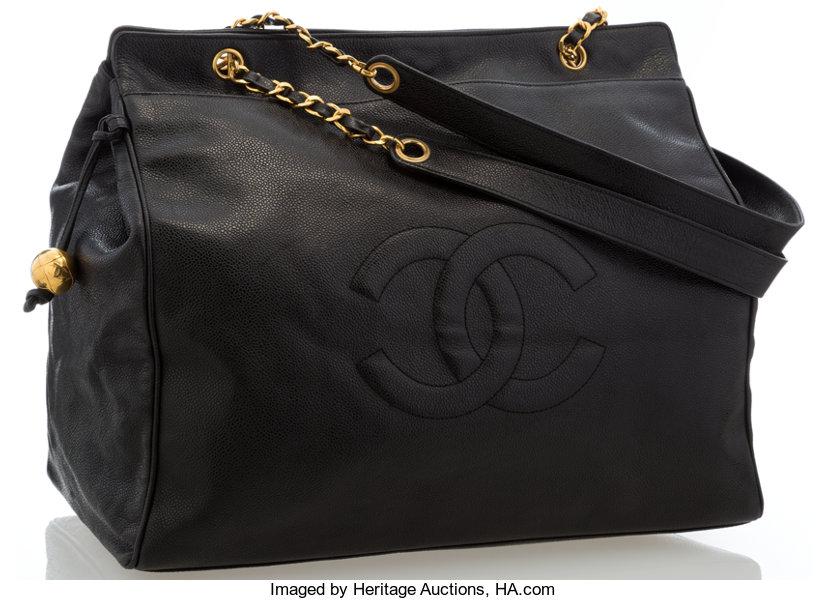 eca2db0da511 Luxury Accessories:Accessories, Chanel Black Caviar Leather CC Tote Bag.  Very GoodCondition.