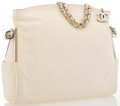 "Luxury Accessories:Bags, Chanel Beige Lambskin Leather Shoulder Bag with Silver Hardware.Very Good Condition . 11"" Width x 10"" Height x 4""Dep..."