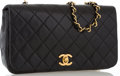 "Luxury Accessories:Bags, Chanel Black Quilted Lambskin Leather Flap Bag with Gold Hardware .Very Good Condition . 9"" Width x 5.5"" Height x 2.5..."