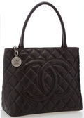 "Luxury Accessories:Accessories, Chanel Brown Caviar Leather Medallion Tote. Very Good Condition. 12"" Width x 10"" Height x 5"" Depth; 6.5"" Handle Drop..."
