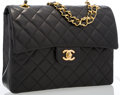 Luxury Accessories:Bags, Chanel Black Quilted Lambskin Leather Medium Double Flap Bag withGold Hardware. Very Good to Excellent Condition .10...